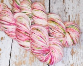 Speckle Hand Dyed DK Superwash Merino Wool Yarn in Pink and Green