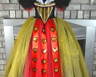 Deluxe Queen of Hearts Tutu Dress Gown Costume Inspired by Alice in Wonderland