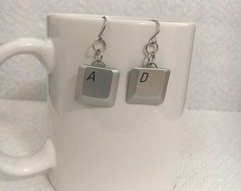 Silver Keyboard Keys Earrings