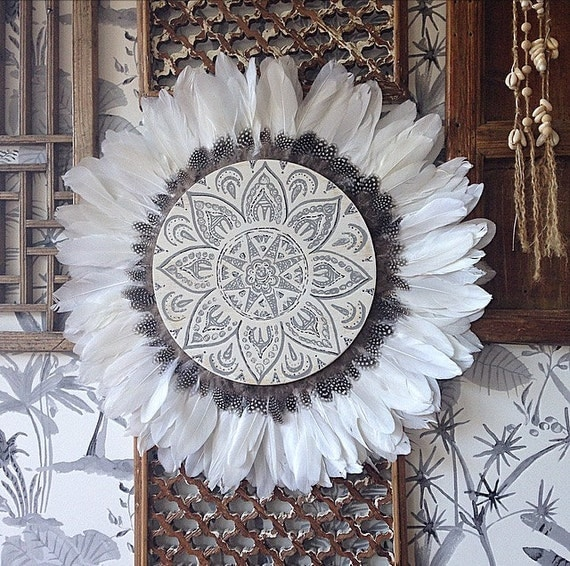 Tribal Mandala White and Grey with Guinea Fowl Feathers Round Wall Art, Boho Design,  Timber Porthole