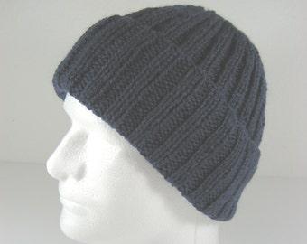 Dark blue knit toque, wool watch cap, hand knit hat, navy watch cap, navy blue hat, wool knit hat, knit wool hat, sailor hat, wool toque,