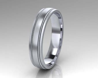 Wedding Band / Mens Ring / Wedding Band / Milgrain Design Band / Solid 14K White Gold / 5.00 mm Wide
