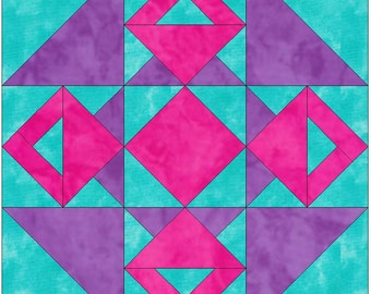 Double Basket 15 Inch Block Paper Template Quilting Block Pattern PDF