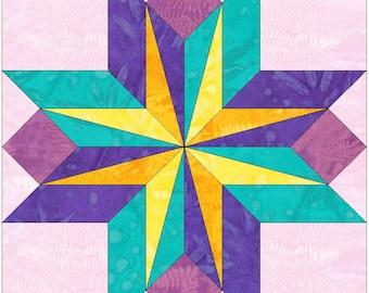 Sara's Star Variation 15 Inch Paper Template Quilting Block Pattern PDF