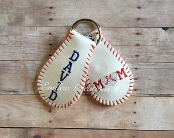 baseball keychain/ personalized baseball keychain/ baseball mom/ real baseballs/ baseball dad/