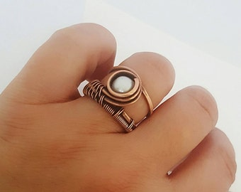 Copper freshwater pearl ring, copper wire ring pearl wire wrapped ring, wrapped stone ring, copper ring with pearls, woven ring wire