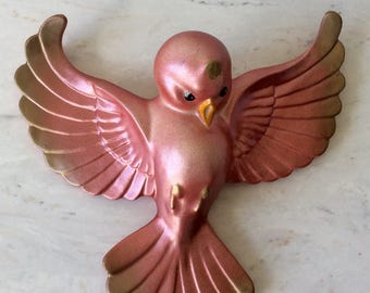 Vintage Pink & Gold Chalkware Bird, Wall Decor, Shabby Chic, French Country, Nursery, Bedroom/Bathroom Decor