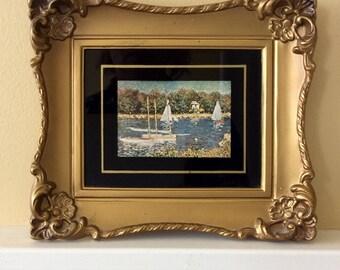 Vintage Gold Ornate Framed Picture, Sailboats, Monet, Statement Wall Decor, Coastal, Nautical, Cottage