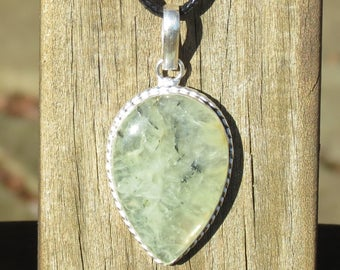 Beautiful Prehnite Necklace for Unconditional Love, Peace, Protection, De-Cluttering, Phobias, Nightmares, Deep Fears, Heart & Brow Chakras!