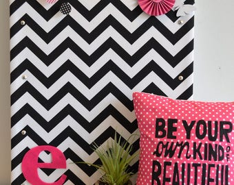 Personalized Cork Bulletin Board, Black and White Chevron Fabric Covered Cork Board with Push Pins, Pin Board and Wall Decor