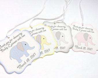 Elephant Baby shower favor tags, Custom baby shower tags, Personalized baby shower thank you favor tag, Thank you for celebrating tag