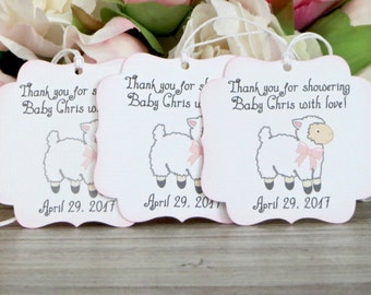 Lamb baby shower favor tags, Girl baby shower thank you tags, Mary had a little lamb baby shower gift tag