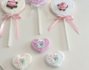Faux Chenille Heart Lollipops  & Heart  Cookies  set of 6