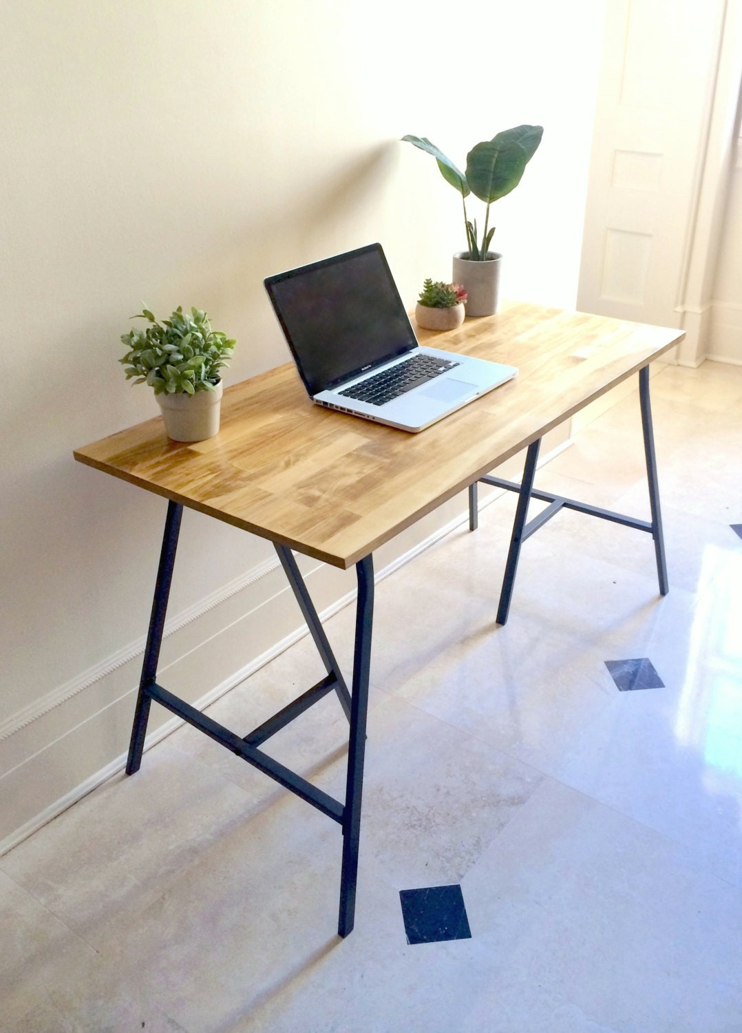 long narrow desk table on ikea legs choose any by goldenrulenyc