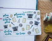 Time to plan - decorative watercolour doodle planner stickers suitable for any planner -245-