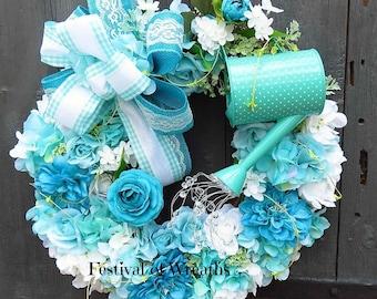 Spring Floral Wreath - Spring Front Door Wreath - Mother's Day Wreath - Garden Wreath - Summer Floral Wreath - Summer Door Wreath