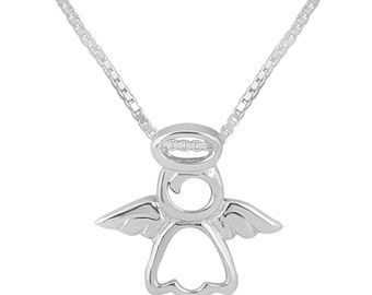 Sterling Silver Angel Pendant, Angel Necklace,  Silver Angel Necklace, Real Silver, UK Seller, 925 Silver Jewelry, Angel & Halo Pendant