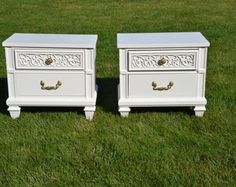 nightstands/pair of nightstands/bedside tables /white bedside tables /cottage chic
