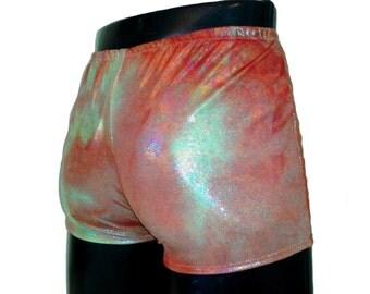 """Mens Pants Hotpants Booty Shorts M MEDIUM Mission to Mars 30-34"""" Orange Gold Burning Man Glastonbury Festival Clothing Underwear Mooners UK"""