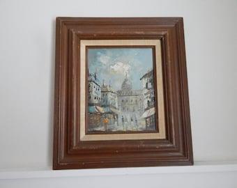 Original Mid Century Bauhaus Oil Painting - City Scape / Street Scape - Original Mid Century Framing - Original 1960s Bauhaus Oil Painting