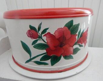 Red Hibiscus Flower Metal Cake Carrier - Mid Century Retro Kitchen Bake Ware - Two Piece Set - Red & White Vintage Retro Kitchen Cake Holder