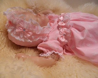 Reborn/Baby 0-3 months stunning frilly Dress with  pink roses lots of lace dolls clothes baby home coming outfit