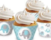 Blue Elephant Cupcake Wrappers. Printable Cupcake Wraps. Baby Boy Covers. Baby Cupcake Decor. Blue and Gray Baby Shower Decorations