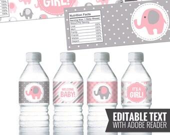 Pink Elephant Water Bottle Labels. Girl Baby Shower Bottle Labels. Printable Wrappers. DIY Wraps. Pink and Grey Elephant Baby Shower Labels