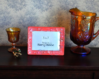 Coral Pink Picture Frame/Tumbled Glass Picture Frame/Beach Picture Frame/Beach Glass/Metal Picture Frame/5x7 Frame/Pink Picture Frame