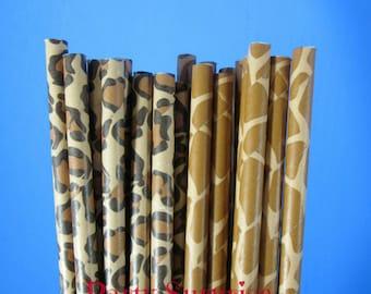 Animal Print Paper Straws Giraffe Leopard Paw Print Cow Print Safari Jungle Zoo Circus Kids Birthday Party Straws