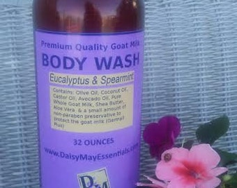Goat Milk Body Wash 32oz. FREE SHIPPING Shower Gel Rich Lather Natural Moisturizing Shea Butter Coconut Oil Smooth Skin Homemade Luxurious