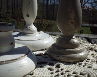 Trio of Shabby Chic Wooden Candle Holders/White and Taupe