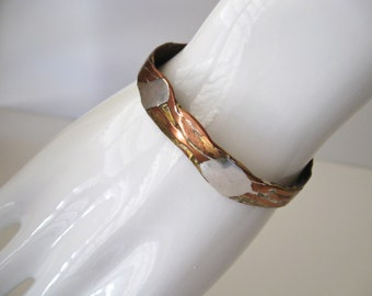 Vintage Copper Silver Brass Cuff Bracelet / Artisan Crafted Bangle Bracelet