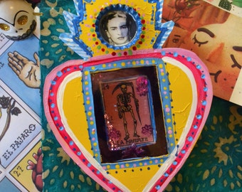 """Mexican style """"hoja de lata"""" shadow box with Frida and Death theme"""