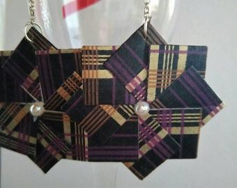 Origami earrings, dark violet