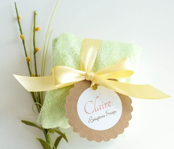 CLAIRE | 4oz | Avocado French Clay Bar with Super Soft Mint Green Bamboo Washcloth