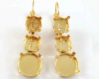 Earrings Settings Fits ss39 and 12mm Round Stones 1 Pair, Mixed Stones Earrings Base, Nickel Free Leverback Earrings Blanks (Gold or Silver)