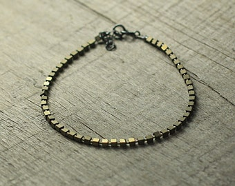 Cube Hematite Bracelet, Golden Bracelet, Oxidized Silver Bracelet, Delicate Jewelry, Jewellery Gift for Wife, Hematite Cubes