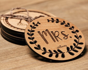 Mr and Mrs Mugs Personalized Coasters, Lacquered Wood Coaster, Monogram Coaster, Inexpensive ...