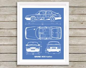 "Saab 900 Turbo Blueprint, Saab Decor, Blue print Art, Instant Download, Saab 900 T, Blueprint art, Saab Decor, Saab 900, 8x10, 11x14"""