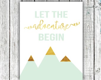 Nursery Art Printable, Baby boy, Mint and Gold, Let the Adventure Begin, Digital Download Size 8x10 #615