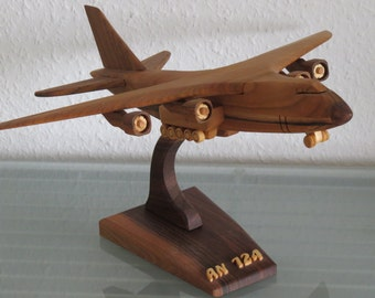 Antonov An-124 AN 124 cargo plane with stand wood crafted XXL