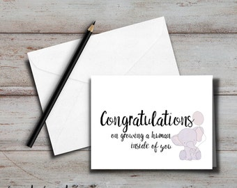 Congrats on growing a human Card with envelope, Blank inside for new moms, new parents, baby shower; Funny card, sassy card, sarcastic card