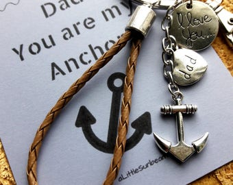 Fathers Day gift Keychain key ring anchor I love you dad leather strap tassel key chain with Dad You are my Anchor notecard