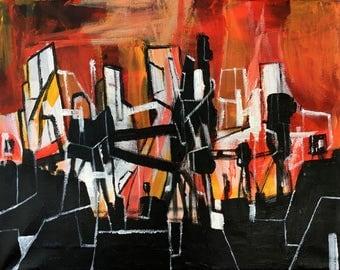 "11"" x 14"" Original Deconstructivist Acrylic Painting"