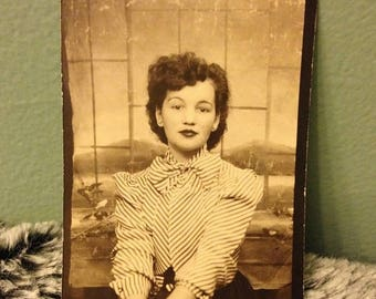 ON SALE Vintage 1940's Photograph Beautiful Lovely Pretty Young Woman Old Photo