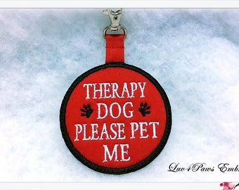 Therapy Dog Please Pet Me Clip On Tag for Vest