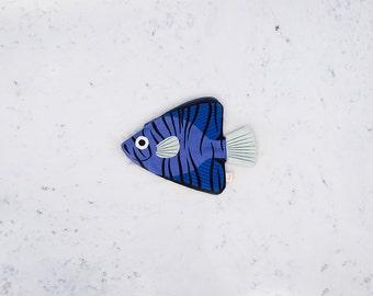 BLUE BATFISH (filamentous blue)-purse or Keychain fish