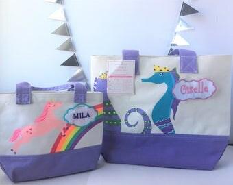 Personalized Kids canvas tote bag, kids totes, unicorn tote bag, seahorse tote bag, pottery barn kids, monogram tote, personalized tote