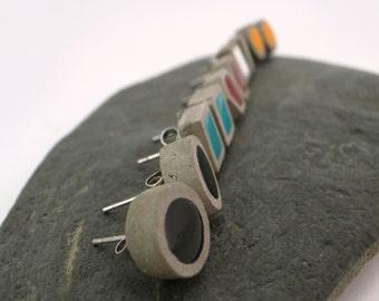 Small earrings of concrete, hexagonal earrings, round earrings, cement, modern jewelry earrings. Wedding gift.